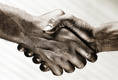 Shaking Hands --- Image by © James Noble/Corbis